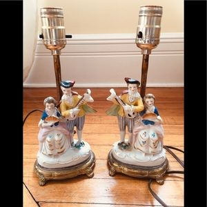 Figurine lamps set of two. 10 inches  functional